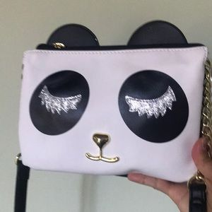New Betsey Johnson Panda crossbody closed eye bag